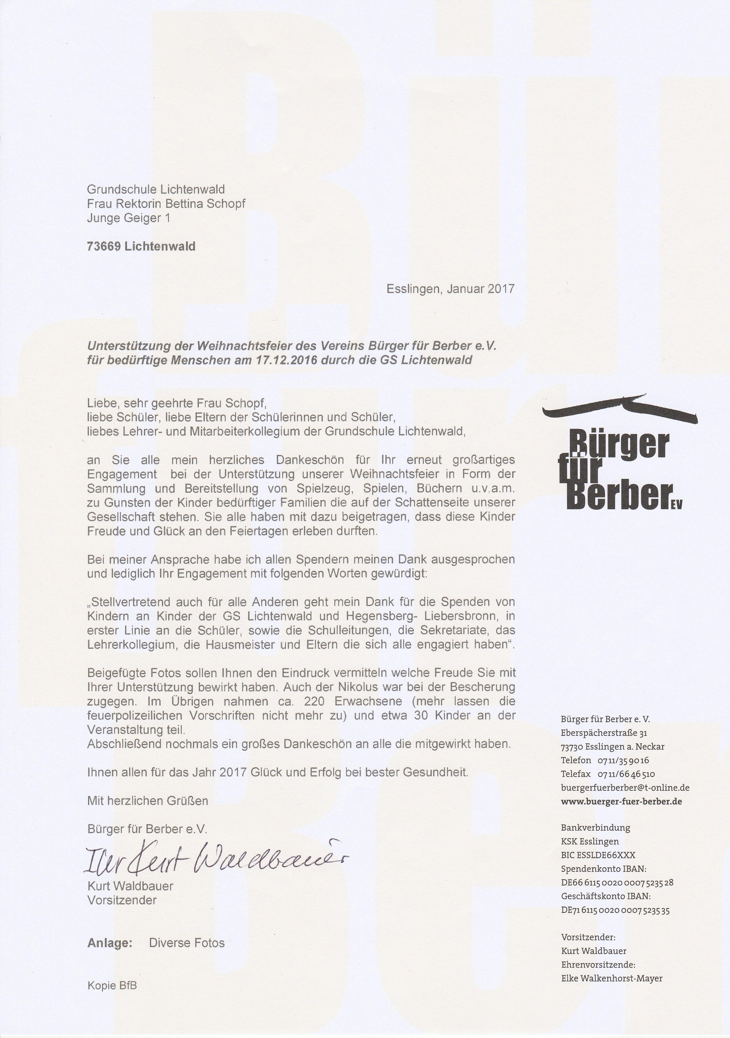 Ansprache Weihnachtsfeier.Weihnachtsfeier Bürger Für Berber E V 2016